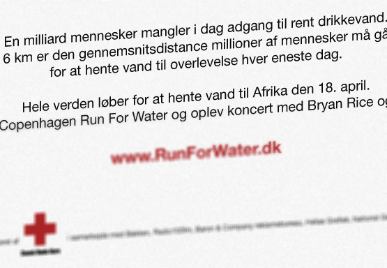 Annoncering for Run For Water, Røde Kors
